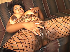 Black BBW's twat ravaged by black cock