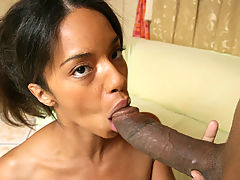 Small breasted ebony housewife riding a hard black cock