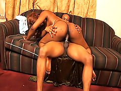 Black slut gets in a car so she can get fucked on a couch