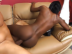 Teen black chick milks a cock dry with her mouth and her extremely tight pussy so she can drink his warm jizz