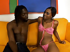 Watch this black beauty get banged in many different positions, even being lifted in the air to be fucked