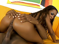 Beautiful black chick shows off her perfect round brown ass while her pussy is being filled with a hard cock