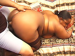 Black fatty gets dicked from all angles in this threesome
