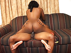 Black Diamond's tasty ebony snatch gets a workout as she impales herself on a thick black dick and fucks it