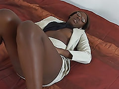 Hot ebony girl shows that she can fit any black dick inside of her tight snatch, as long as she's wet enough
